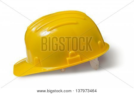 Yellow Plastic Helmet Isolated On White Background.