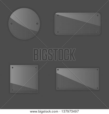 Glass label set. Transparent badges for business promotion advance