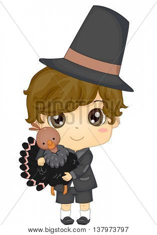 Illustration of a Boy Dressed as a Pilgrim for Thanksgiving