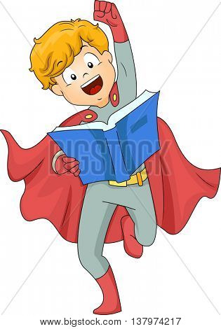 Illustration of a Boy Dressed as a Superhero Reading a Book