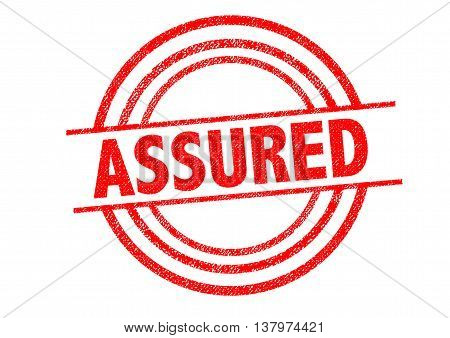 ASSURED Rubber Stamp over a white background.