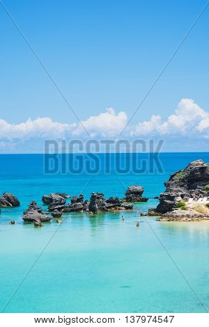 Pristine aqua marine water of Tobacco Bay in Bermuda.