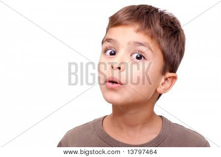 Little cute kid making facial expression