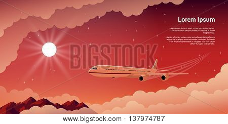 picture of a civilian plane witn clouds. mountains setting sun and stars on background flat style illustration concept banner for vacation and travel concept