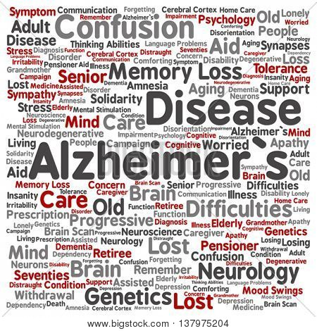 Vector concept conceptual Alzheimer`s disease symtoms abstract square word cloud isolated on background