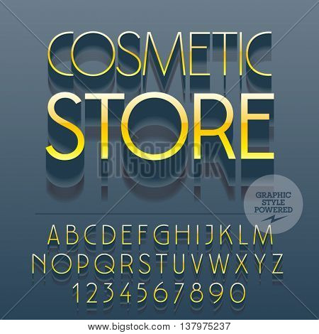 Set of slim reflective alphabet letters, numbers and punctuation symbols. Vector gold emblem with text Cosmetic store. File contains graphic styles