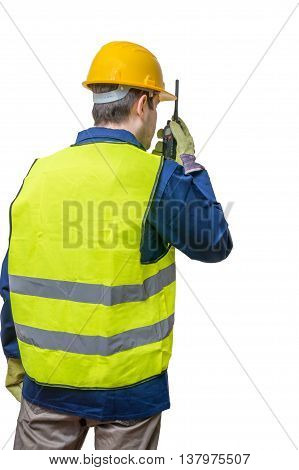 Engineer Or Worker Is Using Radio. Isolated On White Background.
