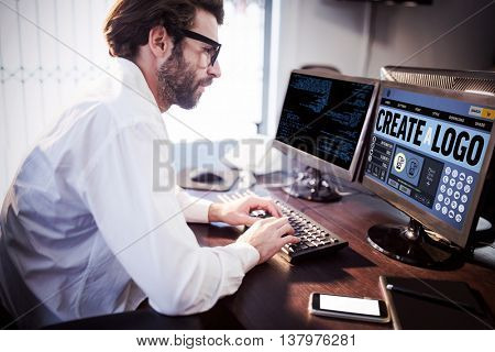 Webpage for create a logo against businessman with glasses working on computer