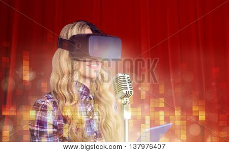Pretty casual worker using oculus rift against digitally generated retro chrome microphone