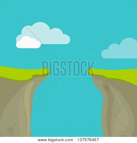 Abyss, gap or cliff concept with sky and clouds. Vector illustration in flat style