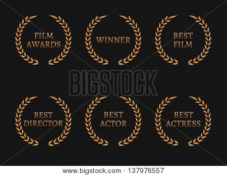 Film academy awards winners and best nominee gold wreaths on black background. Vector illustration