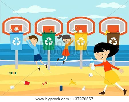 Children recycle cleaning beach playing at basket with recycling bin vector illustration