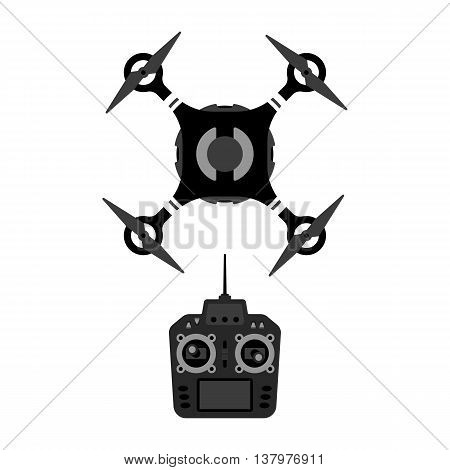 Vector drone and remote controle device illustration. Quadrocopter top view.
