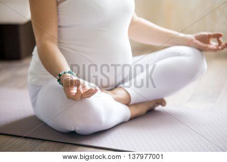 Prenatal Meditation. Close-up