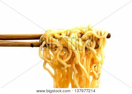 Food - noodles ramen grapples with chopsticks isolate on white background