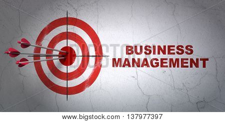 Success business concept: arrows hitting the center of target, Red Business Management on wall background, 3D rendering