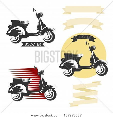Set of classic scooter emblems, icons and badges. Urban, street scooter illustrations and graphics. Isolated scooter front and side view.