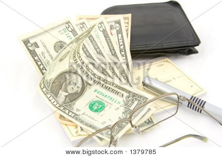 Money Wallet Pen Check Book And Glasses