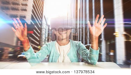 Black girl with virtual reality glasses against new york street