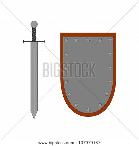 Set of sign shield and sword silver. Combat icon isolated on white background. Color flat mark. Symbol of a steel elements. Logo for military and security. Stock vector illustration