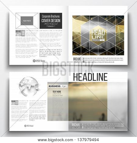 Set of square design brochure template. Colorful polygonal background with blurred image, seaport landscape, modern stylish triangular vector texture.