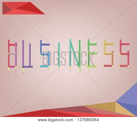 Abstract background for business solution shaped with colored pencils. Digital vector image