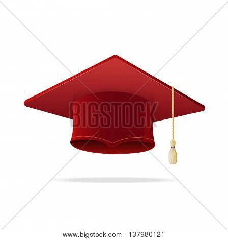 Student Hat Red Graduated Isolated on White Background. Academic Cap. Vector illustration