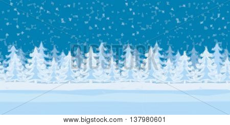 Christmas Holiday Low Poly Background, Winter Forest with Fir Trees and Snow. Vector