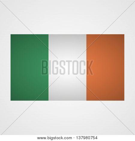 Ireland flag on a gray background. Vector illustration