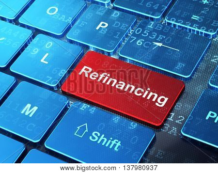 Finance concept: computer keyboard with word Refinancing on enter button background, 3D rendering