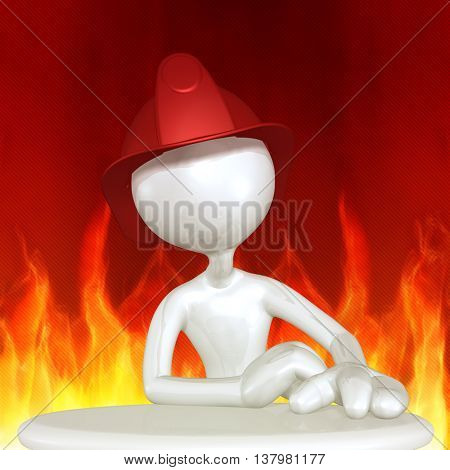 Fireman Character 3D Illustration