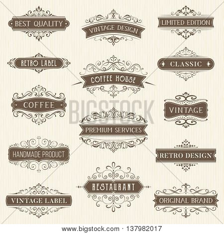 Vector set of ornate calligraphic vintage labels and logo templates. Hotel, restaurant and business identity set. Use for invitations, greeting cards, banners, posters, placards or badges.