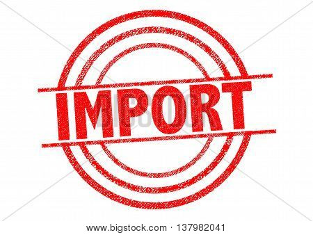 IMPORT red Rubber Stamp over a white background.
