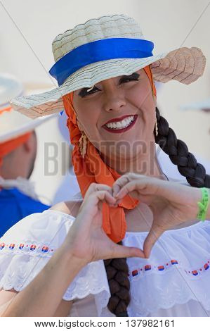 ROMANIA TIMISOARA - JULY 72016:Young woman from Costa Rica in traditional costume present at the international folk festival