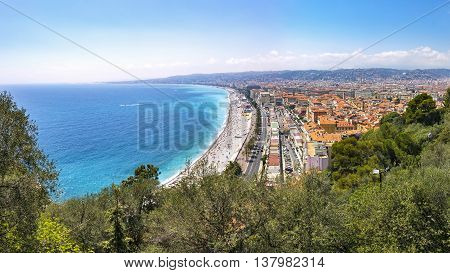 Beautiful Panoramic View Of Beach In City Of Nice, Cote D'azure, France