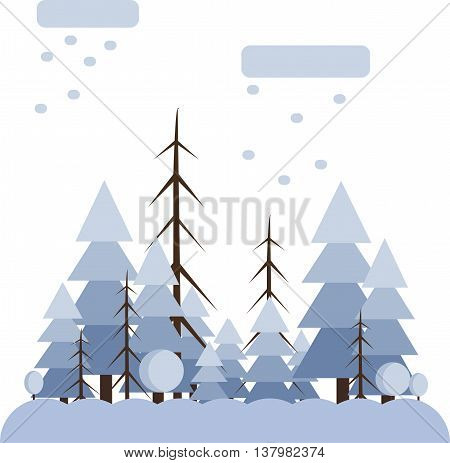 Abstract landscape design with white trees and clouds snowing in a forest in winter flat style. Digital vector image.
