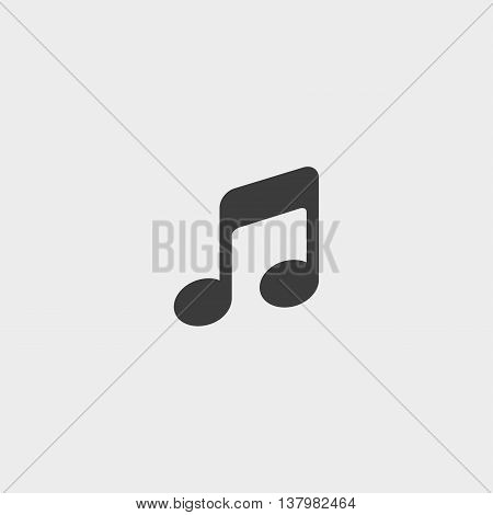 Music note icon in a flat design in black color. Vector illustration eps10