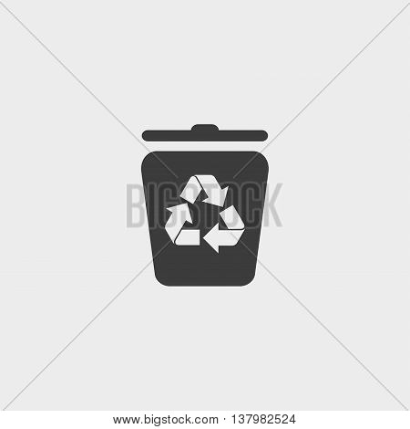 Recycling container icon in a flat design in black color. Vector illustration eps10