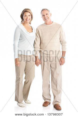 Ältere Senioren glücklich verliebte Paar. Isolated over white background
