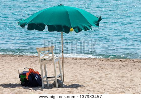image of a parasols on the beach