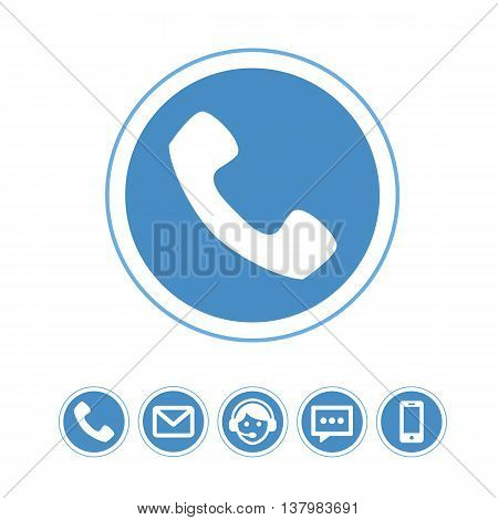 Vector set of telephone icons. Pictograph of phone.