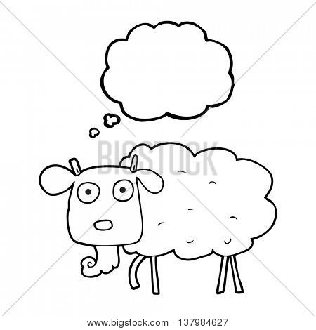 freehand drawn thought bubble cartoon muddy goat
