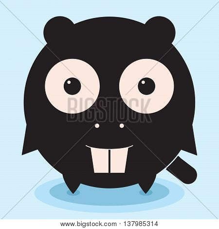 Round funny beaver, cute animal, minimalistic picture, illustration for children, vector art