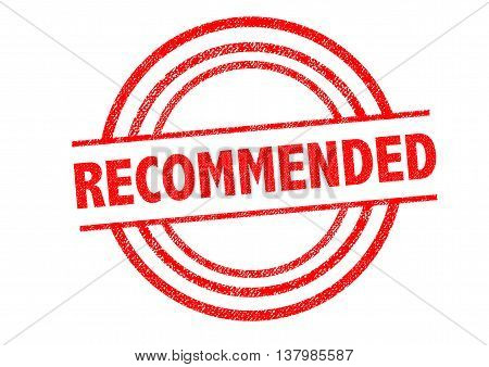 RECOMMENDED Rubber Stamp over a white background.