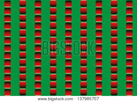Optical illusion, illusory motion - the rows of red squares seem to move up and down, and to run counter - seamless pattern in all directions can be created., vector