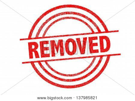 REMOVED Rubber Stamp over a white background.