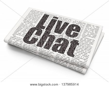 Web development concept: Pixelated black text Live Chat on Newspaper background, 3D rendering