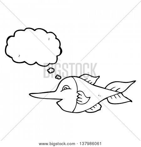 freehand drawn thought bubble cartoon swordfish