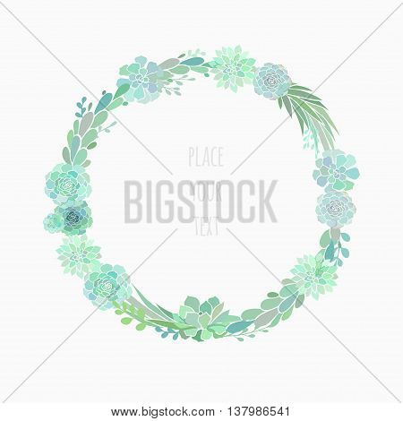 floral wreath made of succulents, vector floral wreath isolated on white