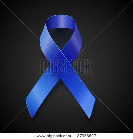 Awareness Blue Vector Ribbon Isolated On Black